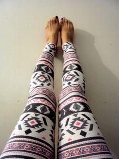 Women's Aztec Print Sexy Skinny Leggings Yoga Pants Workout Pants Pink Grey Tribal Ethnic Print Spandex Tights Women Clothing Fashion by GrahamsBazaar, $25.00