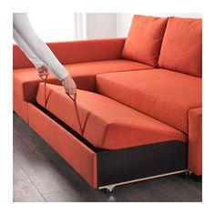 FRIHETEN Sleeper sectional,3 seat w/storage, Skiftebo dark orange Skiftebo dark orange -