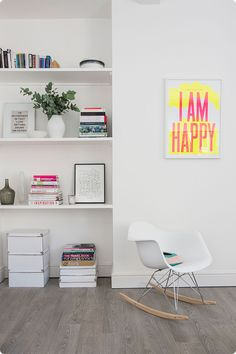 Living space, shelves and I am Happy print