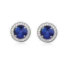 CRISLU Micro Pavé  Sapphire Round Stud Earrings  #VonMaur    # Pin++ for Pinterest #