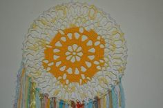 Dreamcatcher -  Wall Hanging - Home decor -  Gypsy - Boho -MORNING SUN - using novelty yarns hanging down, beads and crystal. by Spiritcraft1955 on Etsy