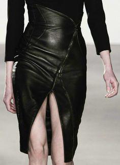 Black leather skirt. #runway #model #fashion #style