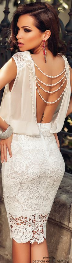 @roressclothes closet ideas #women fashion white backless lace dress