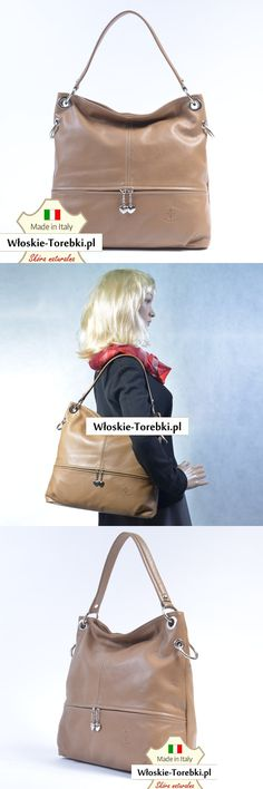 b96aaf6e832ae Skórzana torebka w kolorze cappuccino - piękny odcień koloru beżowego.  Oryginalny produkt włoski. Mieści