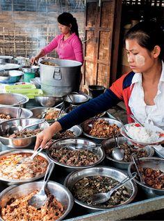One of many roadside restaurants in Kachin State, between Myitkyina and Bhamo -- from BURMA by Naomi Duguid