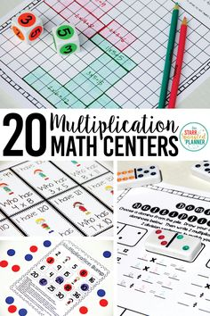 20 Fun Multiplication Centers to help students master their multiplication facts! They're easily differentiated to go with any Guided Math Rotations or Stations! Teaching Multiplication Facts, Math Facts, Teaching Math, Multiplication Strategies, Kindergarten Math, Maths, Math Rotations, Math Centers, Numeracy