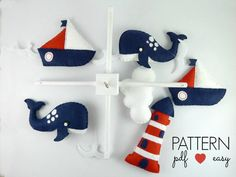 Baby Mobile Sewing Pattern  Boys Nautical Baby by MaisieMooNZ
