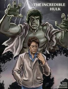 Here's a cafe sketch I drew of Bill Bixby and Lou Ferrigno as the Incredible Hulk. I coloured it up in Photoshop.a mighty, raging fury Hulk Avengers, Hulk Marvel, Marvel Art, Marvel Movies, The Real Hulk, The Incredible Hulk 1978, Comic Book Heroes, Comic Books, Hulk Sketch