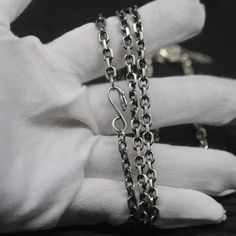 Men's Sterling Silver Eagle Hook Anchor Link Chain - Jewelry1000.com Silver Chain For Men, Mens Silver Jewelry, Chains For Men, Silver Man, Sterling Silver Jewelry, Silver Chains, Bubble Necklaces, Silver Eagles, Men Necklace