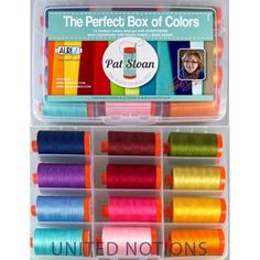 Aurifil Set of 12 Mako 50 WT Pat Sloan Box of Colors Quilting Thread Quilting Thread, Hand Quilting, Machine Quilting, Free Baby Quilt Patterns, Baby Blocks, Traditional Quilts, Arts And Crafts Supplies, Sewing Notions, Free Baby Stuff