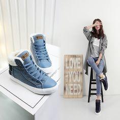 40 Высокий Верх Мода женская зимняя обувь 2018 Новинка матерчатая джинсовая обувь женские Теплые повседневные зимние ботинки Повседневные зимние ботинки для женщин купить на AliExpress