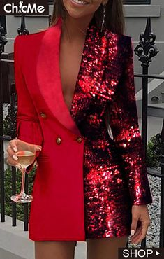 Women Sequined Patchwork Blazer Dress Colorblock Sequins Long Sleeve Dress Elegant Buttoned Turn Down Collar Office Dresses, Red / XL Trend Fashion, Suit Fashion, Look Fashion, Fashion Dresses, Lolita Fashion, Blazer Fashion, Leggings Fashion, Fashion Styles, Retro Fashion