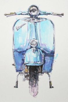 Vespa Source by ruthenzer Motos Vespa, Vespa Scooters, Scooter Scooter, Piaggio Vespa, Vintage Vespa, Motorcycle Art, Bike Art, Vespa Illustration, Canvas Art