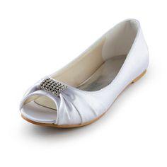 Women's Bridal Ladies Prom Wedding Shoes  Flat Heels Peep Toe Pumps With Diamond buckle on Etsy, $57.59