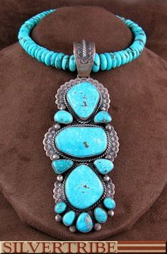 Sterling Silver Turquoise Native American Jewelry Necklace And Old Pawn Vintage Style Pendant Set NS55470