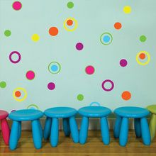 FUN DOTS & CIRCLE RINGS WALL DECALS-Fun Dots & Circles Wall Stickers are so much fun! These colorful dots & circles make it easy to create a bright and fun accent to your child's room. It is so easy & Kids Wall Decals, Vinyl Wall Art, Wall Art Decor, Vinyl Decals, Room Stickers, Wall Stickers Murals, Wall Murals, Wall Stickers Polka Dots, Polka Dot Walls