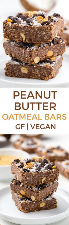 Vegan Peanut Butter Oatmeal Bars These peanut butter oatmeal bars are super quick, easy, no-bake and naturally gluten-free and whole grain. There's even a vegan option for these oatmeal bars that are perfect for a sweet treat, snack or breakfast! Gluten Free Cookies, Gluten Free Baking, Gluten Free Desserts, Vegan Desserts, Fun Desserts, Peanut Butter Oatmeal Bars, Peanut Butter Recipes, Banana Oatmeal Bars, Natural Peanut Butter