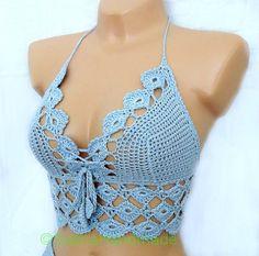 Crochet Lace Beach Top Irish Lace Halter Top by GalinaHandmade