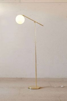 Globe Floor Lamp - Urban Outfitters I need this. Diy Floor Lamp, Brass Floor Lamp, Modern Floor Lamps, Urban Outfitters Home, Diy Inspiration, Unique Lamps, Bedroom Lamps, Home Lighting, Modern Lighting
