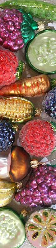 Blown glass fruit and vegetable Christmas ornaments from Germany and Poland - perfect for wreaths!