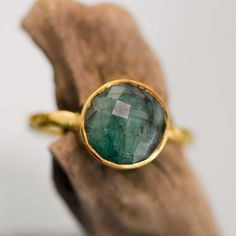 Raw Emerald Ring Gold May Birthstone Ring Solitaire by delezhen