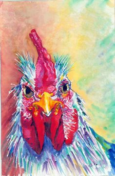 Her specialty is whimsical titled watercolor paintings, and artist Helen Little is a participant in Kerrville Festival of the Arts 5/23-5/24/2015 in #Kerrville TX kvartfest.com #rooster