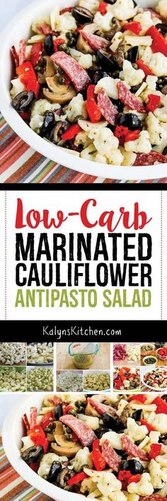 Low-Carb Marinated Cauliflower Antipasto Salad is a delicious salad that's loaded with flavor, and this amazing marinated cauliflower salad is perfect for parties or game-day food. And the salad is low-carb, low-glycemic, Keto, and gluten-free. The salad can be made ahead and keeps well in the fridge for a few days too. [found on KalynsKitchen.com] #CauliflowerSalad #MarinatedCauliflowerSalad #LowCarbSalad #KetoSalad #AntipastoSalad