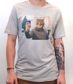 Artisan Tees - Selfie Cat T-Shirt Men's Fitted Heather Graphic Tee