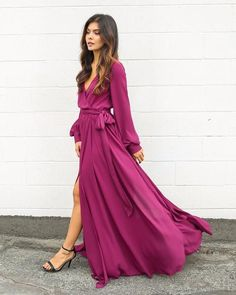 Long Sleeve Diana Maxi Dress - Berry