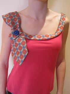 Unique Craft Ideas With Neck Ties  Cute idea to do with a basic tank from 6pm.com! #6pmresolution #scorescore