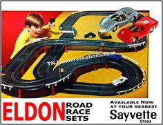 Eldon road race sets, available at Sayvette stores! Courtesy of… Slot Car Racing, Slot Car Tracks, Road Racing, Race Tracks, Slot Car Sets, Slot Cars, Pinup Art, Vintage Models, Vintage Toys