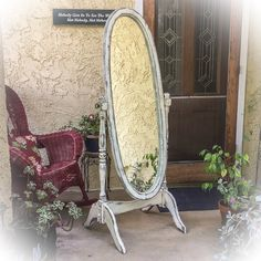 SOLD - Antique, Dressing Mirror, shabby chic, full length mirror ...