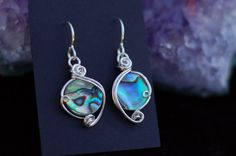 Abalone Shell Earrings in Sterling Silver / Wire by KosmicKrystals