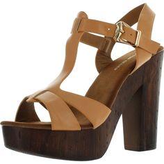 39f61238b43 Top Moda Womens T-Strap Faux Wooden Platform Chunky Heel Sandals