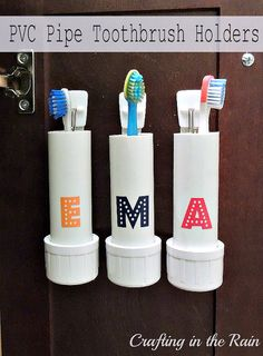 Great idea. love that it can be unhooked to be washed. Crafting in the Rain: PVC Pipe Toothbrush Holders