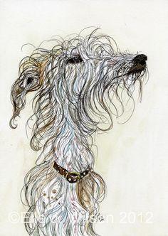 A Little Messy - Lurcher Hound Art Print - LARGE signed print. Elle Wilson