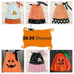 "$8.99 Dresses when you ""SHARE""! 7 styles to choose from! Sizes Newborn to 10 years old! Our adorable dresses are perfect for photos, holiday parties, school, Ha"