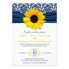 Yellow sunflower flower and navy blue damask floral and ribbon floral wedding invitation. Perfect for a wedding in the summer, fall / autumn, or the spring.  You can personalize all the text.   To change the text, use the personalize options. Or to change the font, font size, font color, or text placement, choose customize it.  NOTE: This is a flat, printed design without any 3D or raised embellishments.