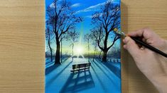 Canvas Painting Tutorials, Painting Videos, Diy Painting, Abstract Canvas Art, Acrylic Art, Nature Paintings, Cool Paintings, Landscape Drawings, Landscape Paintings