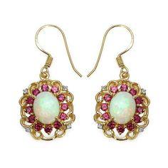 14K Yellow Gold Plated 4.94 Carat Genuine Ethiopian Opal, Rhodolite & White Topaz .925 Sterling Silver Earrings