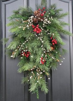 Holiday Swag Wreath - Christmas Pine, Berries and Pinecones Swag for Your Front Door