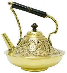 19th century British Arts & Crafts Brass  Kettle designed by Christopher Dresser (1834-1904) a Scottish designer and design theorist, now widely known as one of the first and most important, independent, designers and was a pivotal figure in the Aesthetic Movement.