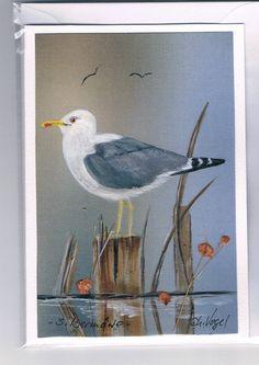 Grüße - Grußkarte - Silbermöwe, handgemalt - ein Designerstück von Vogelmalerin bei DaWanda