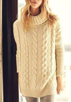 Beige Plain Slit Side High Neck Long Sleeve Oversized Loose Pullover Sweater