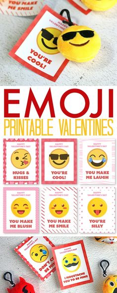 Emoji Printable Valentine's Day Cards - FREE printable emoji Valentine's Day Cards. Print and hand out, or attach a mini emoji plush keychain to each card.