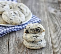 Thick and Soft Cookies and Cream Cookies | I made 51 cookies, with 12 cookies per pan (4 rows of 3). I ended up baking them for only 8 minutes, in order to get them to be soft. Otherwise, they were pretty crunchy. These are good!! (Note: if you're like me and you don't have a stand mixer, just wrap a plastic bag full of the Oreos with aluminum foil and hammer the heck out of those guys, to crush them.) ~ Alegra