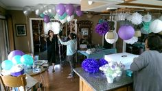 Poms, pin wheels, balloons, and more for the baby shower