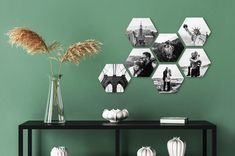 Shape Collage, Photo Wall Collage, Dining Room Walls, Hexagon Shape, Home Decor Bedroom, Decoration, Picture Frames, Wall Decor, Shapes