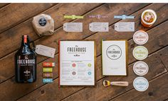 I love this branding for The Freehouse, a Minneapolis based restaurant and brew house by designer Anders Holine. Sometimes it feels as though branding had become so associated with colour that clie. Brand Identity Design, Corporate Design, Graphic Design Typography, Branding Design, Corporate Identity, Design Café, Menu Design, Print Design, Logo Design