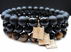 BOYBEADS-Handmade Natural Stone Beaded Bracelets   BOYBEADS Out of Egypt Goldtone Ankh Black Onyx, Tigers Eye 8mm Bracelet Set for Men